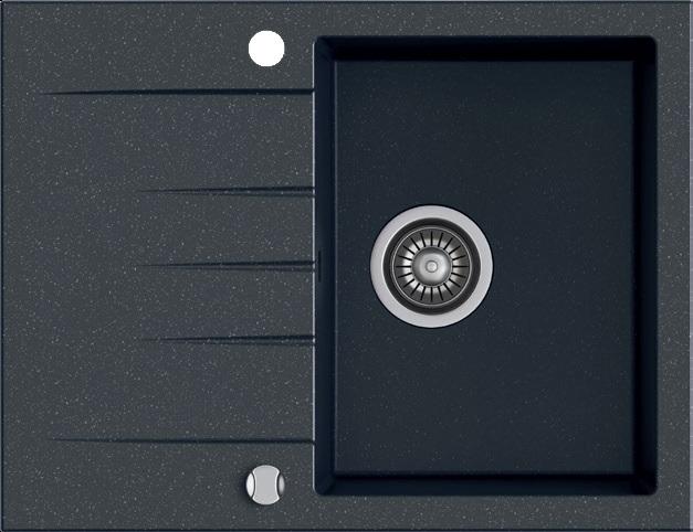 Zlewozmywak granitowy Kernau KGS V 4565A 1B1D Black Metallic