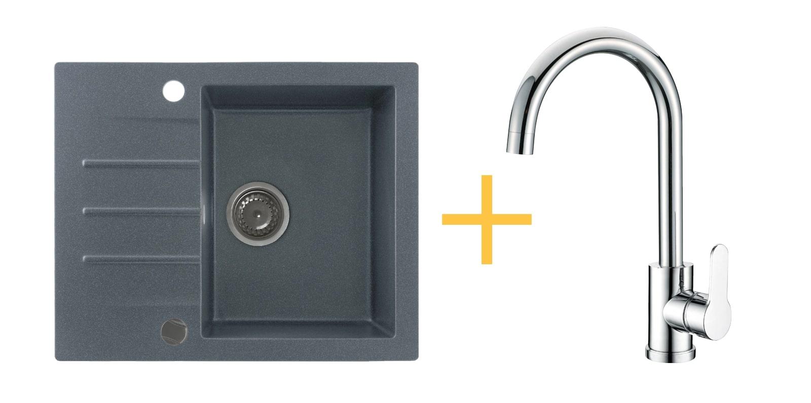 Zestaw zlewozmywak granitowy Kernau KGS A 4560 1B1D Graphite + bateria KWT 30 Chrome