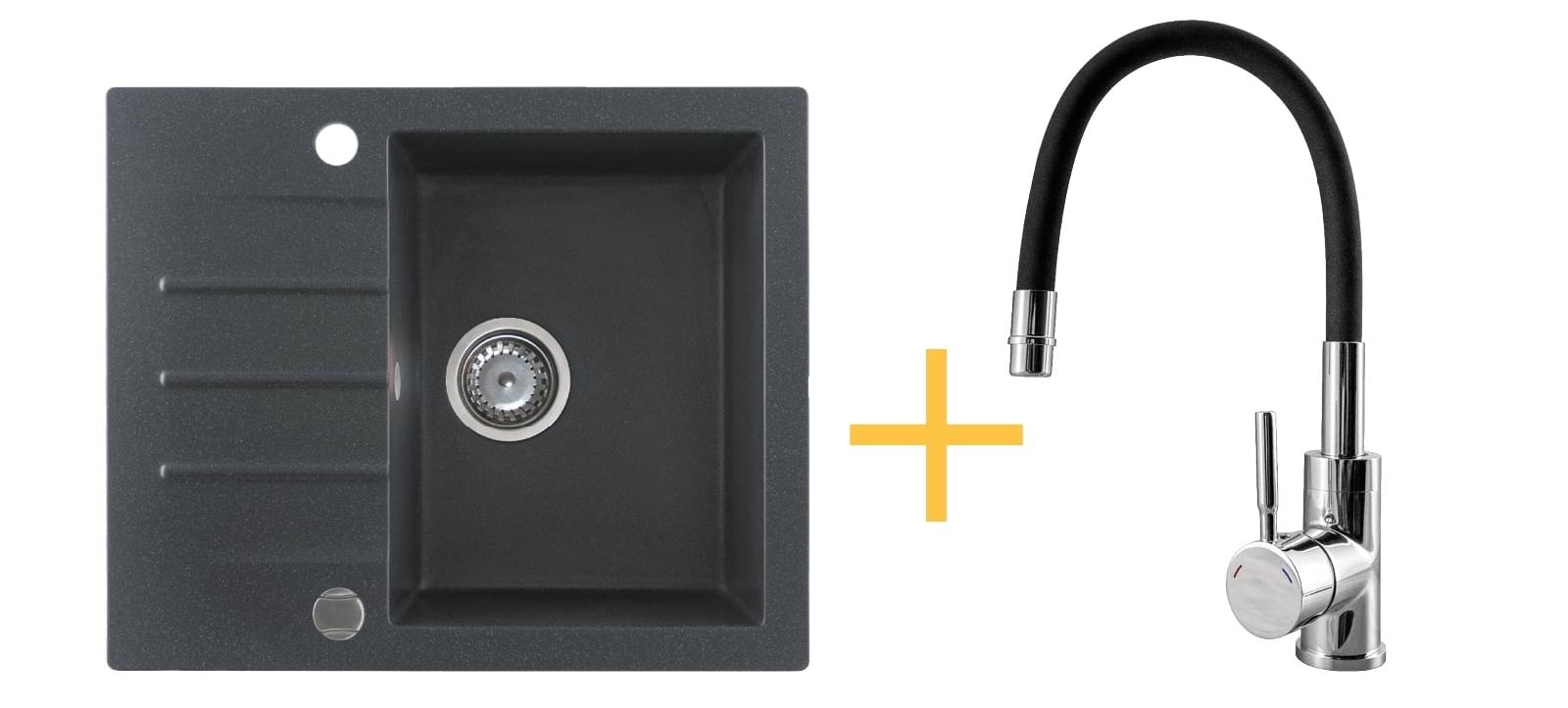 Zestaw zlewozmywak granitowy Kernau KGS A 4560 1B1D Black Metallic + bateria KWT 29 Elastic Black