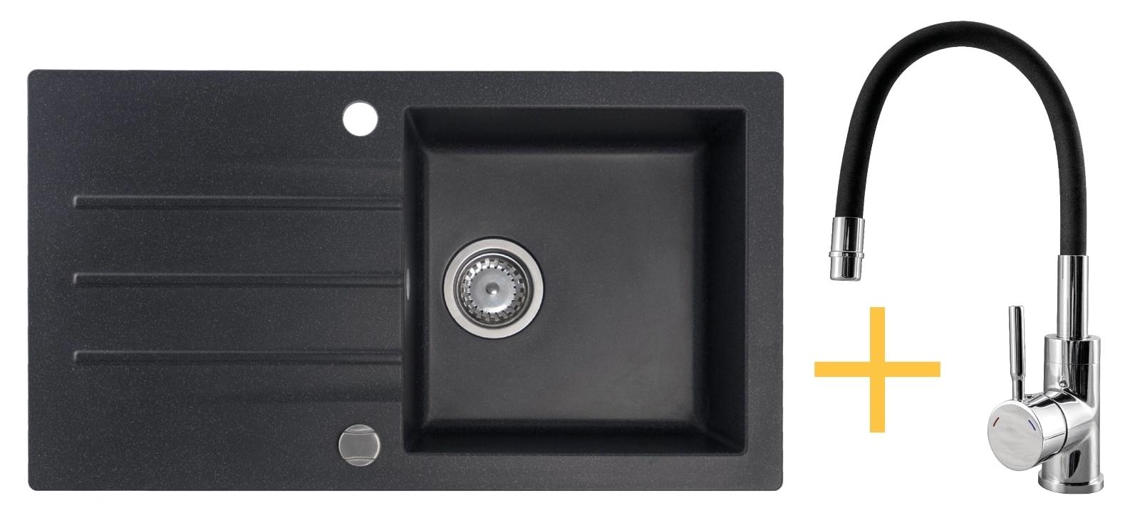 Zestaw zlewozmywak granitowy Kernau KGSA 50 1B1D Black Metallic + bateria KWT 29 Elastic Black
